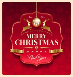 Christmas greeting decorative label vector