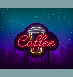 coffee neon sign logo emblem vector image
