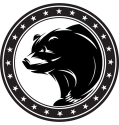 monochrome pattern with bear for a logo or vector image
