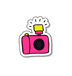 camera doodle icon vector image vector image
