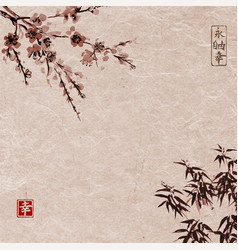oriental cherry blossoming and bamboo vector image vector image