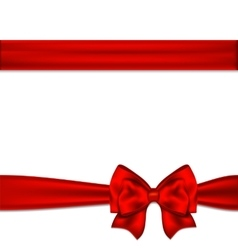 Red ribbon bow horizontal border vector image vector image