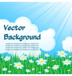 Blue background with grass vector