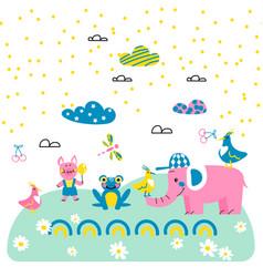 cute animal friends cartoon style vector image