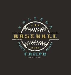 emblem of baseball college championship vector image vector image