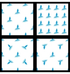 Set seamless pattern windsurfing vector image
