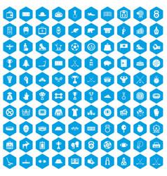 100 hockey icons set blue vector