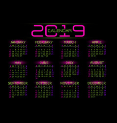 2019 calendar pink green number text on black vector image