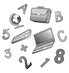 A small set of objects on the school theme vector image
