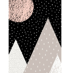 Abstract geometric mountain winter landscape vector