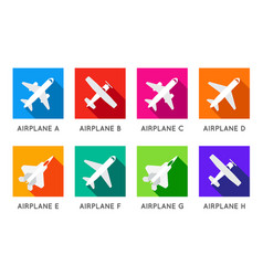 Aircraft or airplane flat minimal square icons vector