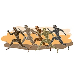 Ancient Greek runners vector