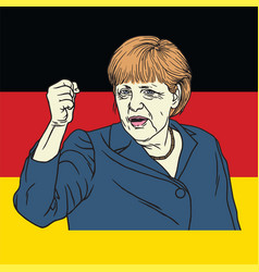 Angela merkel on german flag vector