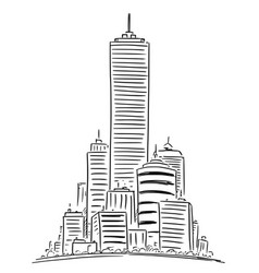 Artistic drawing generic city high rise vector