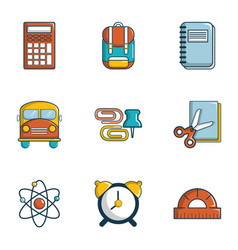 back to school icons set flat style vector image