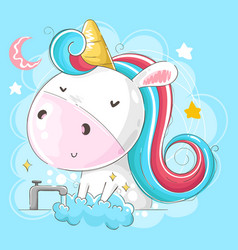 baunicorn washing hands with moon and star vector image