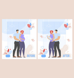 Before childbirth and after pregnancy cartoon set vector