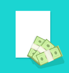 Blank document paper sheet with money cash empty vector