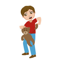 Boy ripping apart teddy bear part bad kids vector