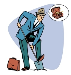 Businessman treasure hunter dreams money business vector image