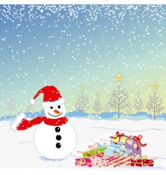 Christmas greeting snowman vector image