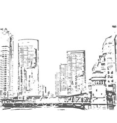 City buildings hand drawn town vector