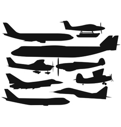 Civil aviation travel passanger air plane black vector image