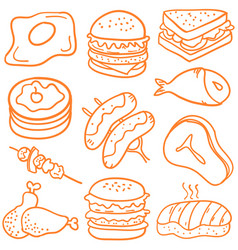 collection stock of food various doodles vector image