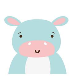 Colorful adorable and happy hippopotamus wild vector