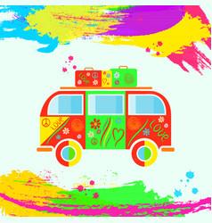 colorful vintage hippie van vintage camper van vector image