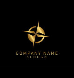 Compass gold color logo vector