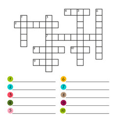Crossword puzzle template isolated on white vector