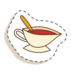 Cup of fresh hot tea vector