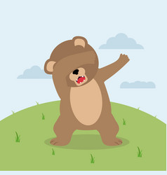 dabbing teddy bear in field vector image