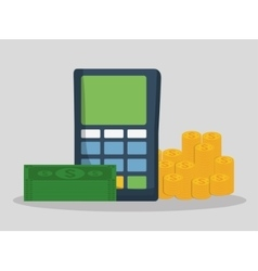 Dataphone bills and coins design vector