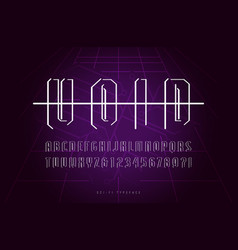 Decorative sans serif font in space style vector