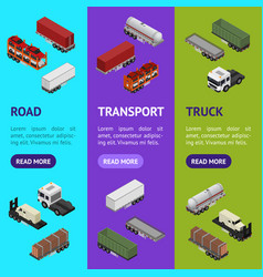 different types trailers 3d banner vecrtical set vector image