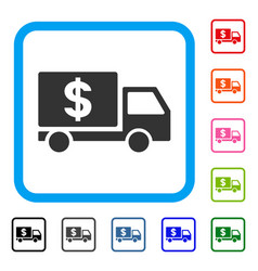 dollar delivery framed icon vector image