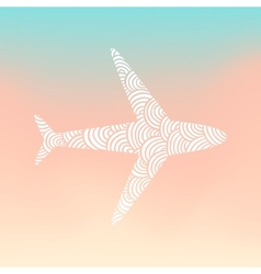 Doodle plane silhouette vector image