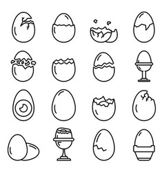 Eggshell icons set outline style vector