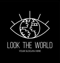 eye with planet inside flat logo design vector image