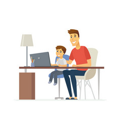 father and son at the laptop - cartoon people vector image