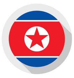 flag north korea round shape icon on white vector image