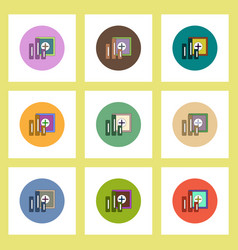 Flat icons set of column chart and safe concept on vector