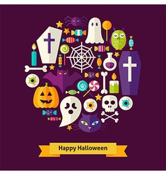 Flat Style Halloween Objects Concept vector