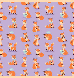 fox cute adorable character funny orange forest vector image