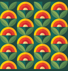 Fruits and leaves nature background mid-century vector