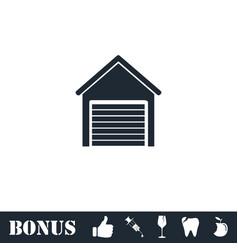 Garage icon flat vector