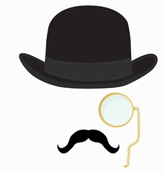 Gentleman hat mustache and monocle vector image