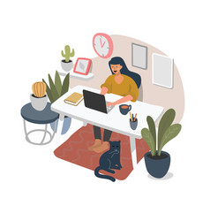 girl sitting at home with laptop and working vector image